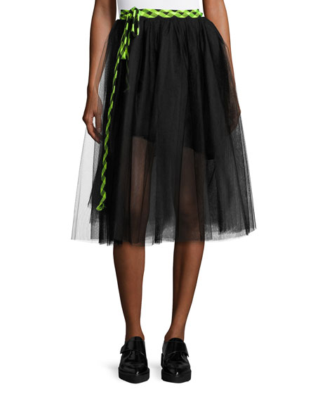 Marc Jacobs Check Tie Tulle Midi Skirt Black Neiman Marcus