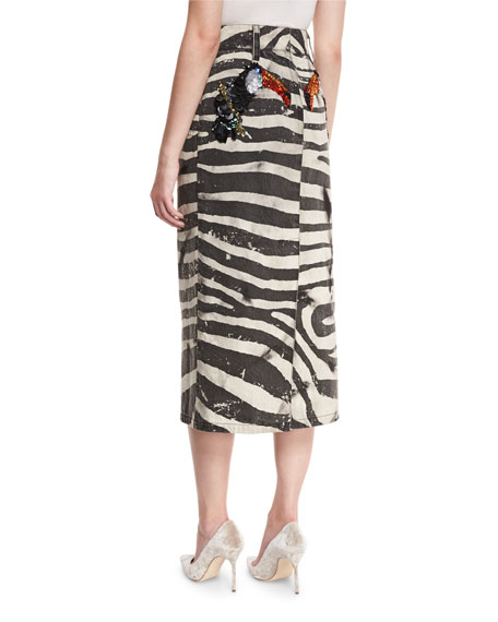 Embellished Zebra-Print Denim Jacket, White Reviews
