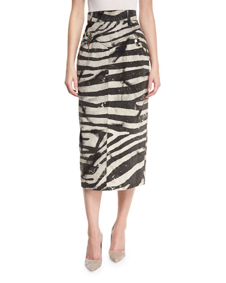 marc embellished zebra print pencil skirt white
