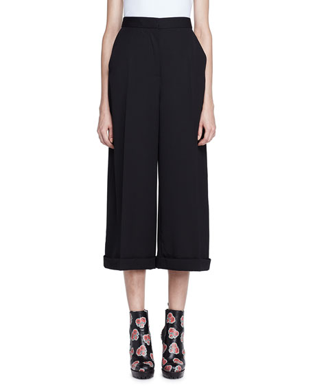 Alexander McQueen High-Waist Wide-Leg Cuffed Pants, Black