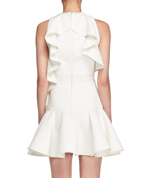 Sleeveless Ruffle-Trim Scuba Dress, Ivory