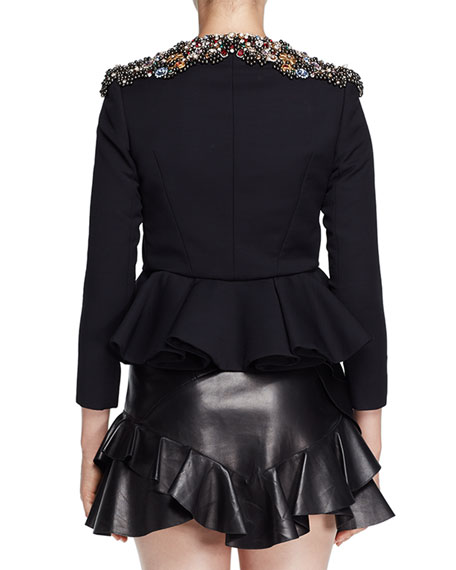 Jeweled-Neck Peplum Evening Jacket, Black
