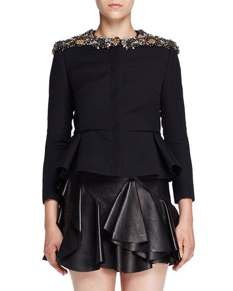 Alexander McQueen Jeweled-Neck Peplum Evening Jacket, Black