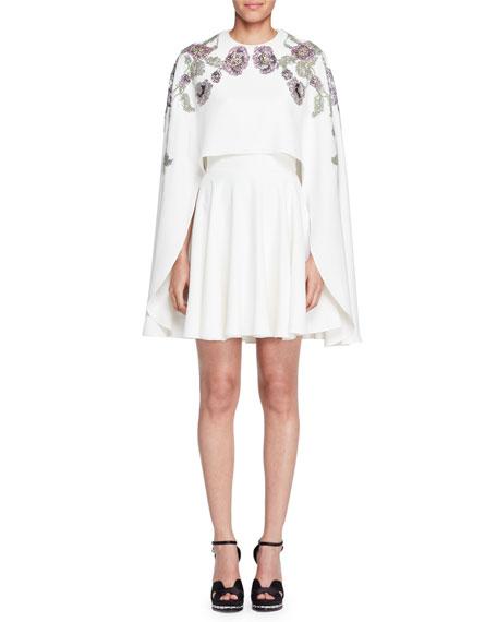 Embroidered-Cape A-Line Dress, Ivory