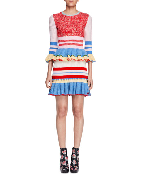 Striped Knit Flounce Skirt, Red/Pink/Yellow
