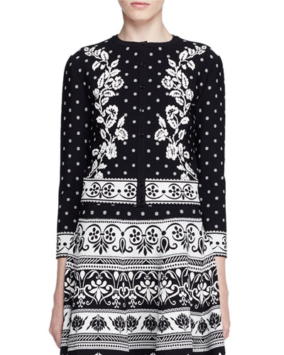 Floral Jacquard Cardigan, Black/White