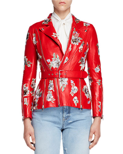 Floral-Embroidered Leather Jacket, Red