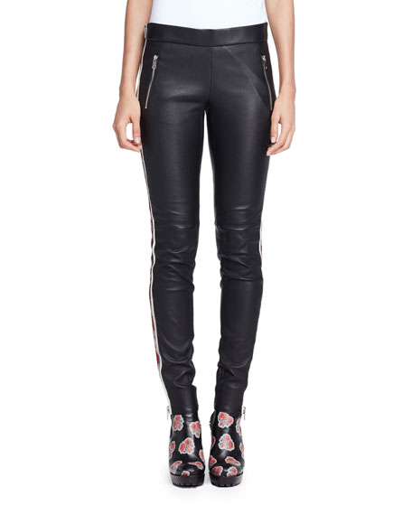 Floral-Striped Leather Moto Pants, Black