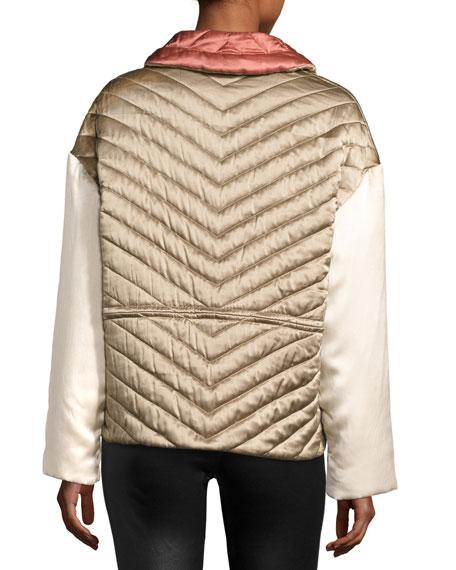 Quilted Silk Bomber Jacket, Beige