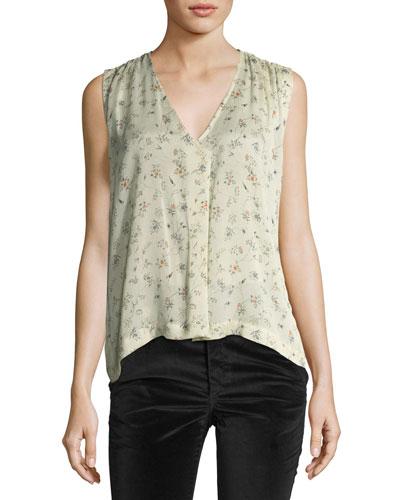 Floral Stretch-Silk A-Line Blouse