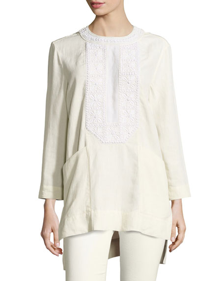 Isabel Marant Crochet-Trim Linen Tunic Blouse, Ecru