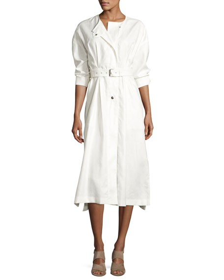 Belted Long-Sleeve Trench Shirtdress, White