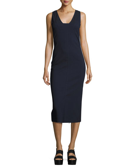 Isabel Marant Sleeveless Square-Neck Midi Dress, Blue