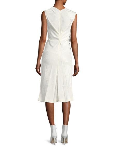 Sleeveless Ruched Honeycomb Jacquard Dress