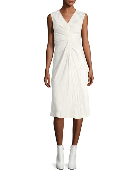 Isabel Marant Sleeveless Ruched Honeycomb Jacquard Dress