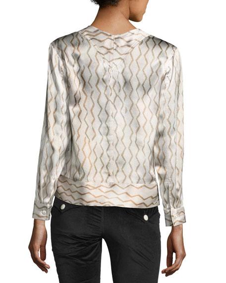 Zigzag-Print Silk Blouse, Ecru