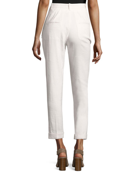 Slim-Leg Cuffed Pants, White