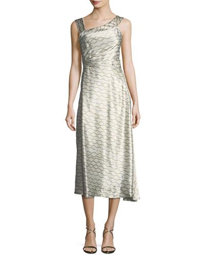 Wave-Print Silk Asymmetric Sleeveless Midi Dress