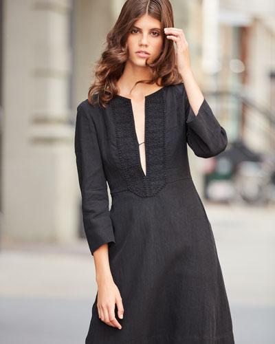 ISABEL MARANT Linens CROCHET-TRIM BRACELET-SLEEVE LINEN DRESS, BLACK