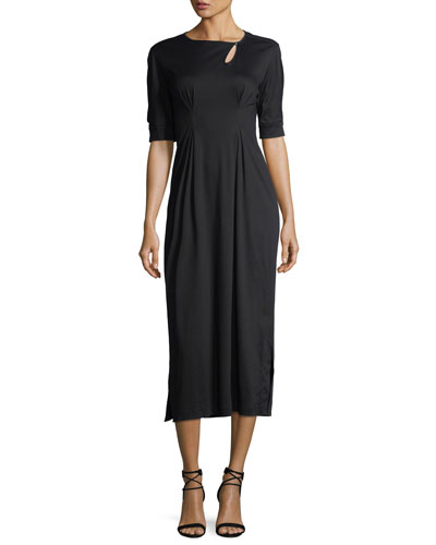 Keyhole Long Cotton Midi Dress