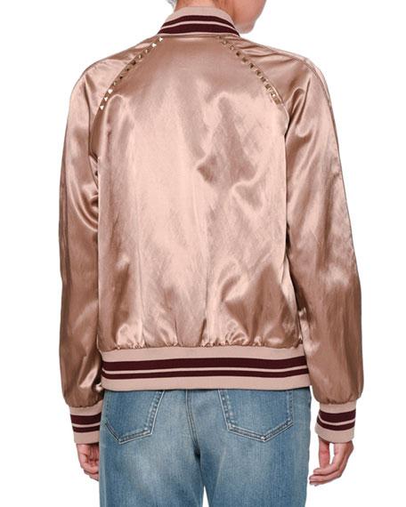 Rockstud Satin Bomber Jacket, Dusty Pink