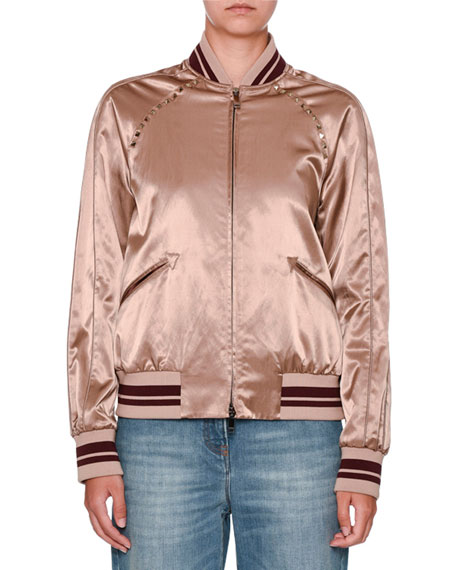 Rockstud Satin Bomber Jacket, Dusty Pink