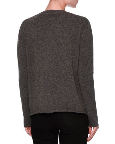VALENTINO Cashmeres CASHMERE PALM INTARSIA PULLOVER SWEATER, GRAY/PINK