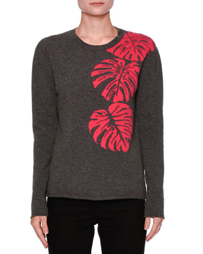 Cashmere Palm Intarsia Pullover Sweater, Gray/Pink