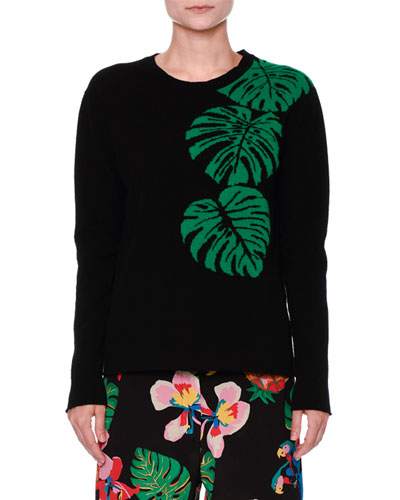 Cashmere Palm Intarsia Pullover Sweater, Black/Green
