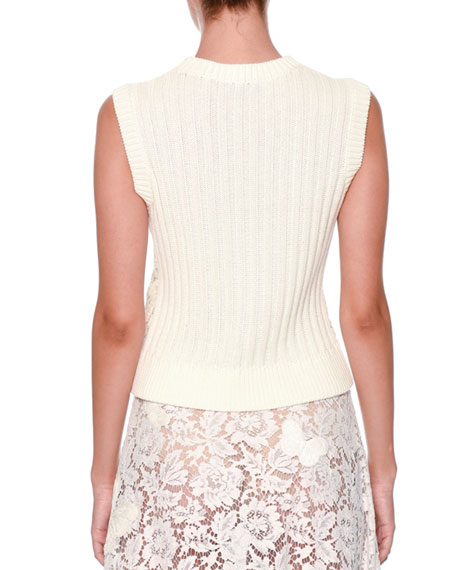Sleeveless Lace-Front Knit Top, Ivory