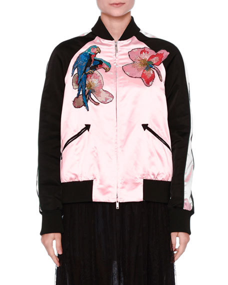 Tropical Dream Embroidered Varsity Jacket, Pink/Multi