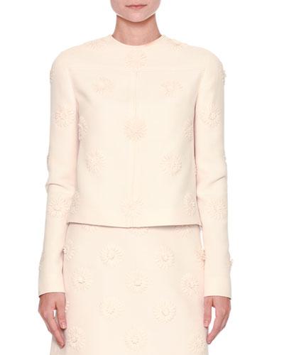 Long-Sleeve Daisy Couture Jacket, Ivory