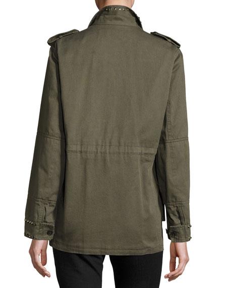 Rockstud-Trim Field Jacket, Olive