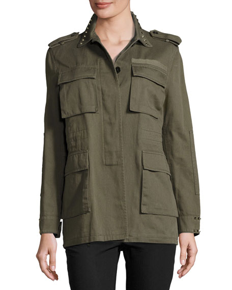 Rockstud-Trim Field Jacket, Olive