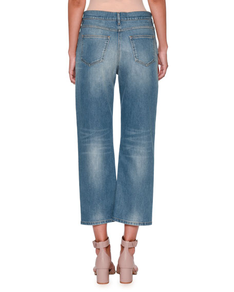 Rockstud Boyfriend-Fit Jeans, Denim