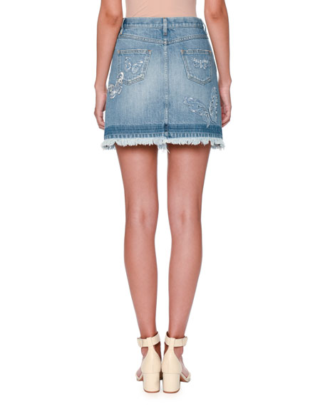 Valentino Butterfly-Embroidered Denim Skirt, Light Blue