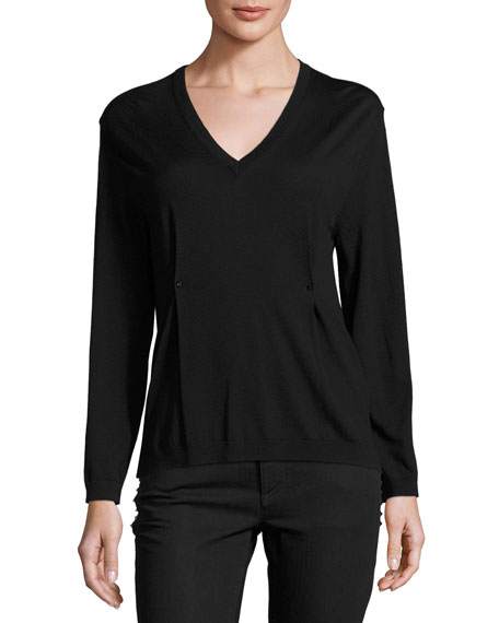 Valentino V-Neck Rockstud Pintuck Sweater, Black