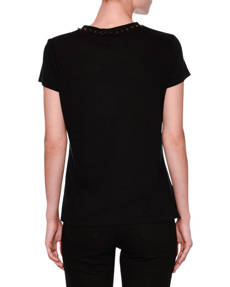 Rockstud Crewneck Cotton Tee, Black