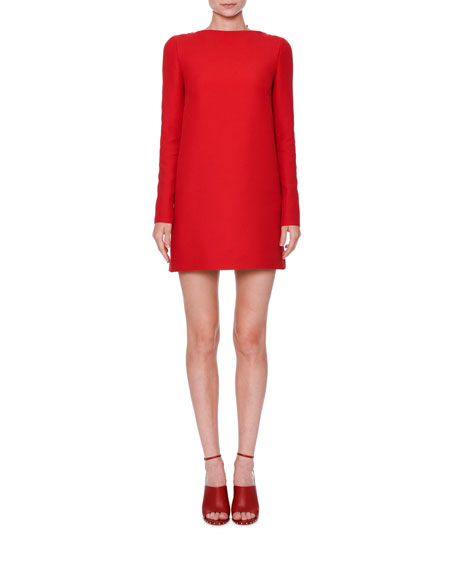 Long-Sleeve Crepe Couture Dress, Red