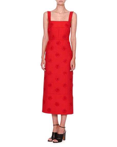 Valentino Daisy-Embellished Sleeveless Midi Dress, Red