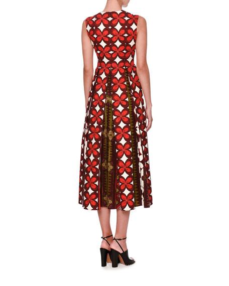 Cuban Flower Sleeveless Midi Dress, Multi