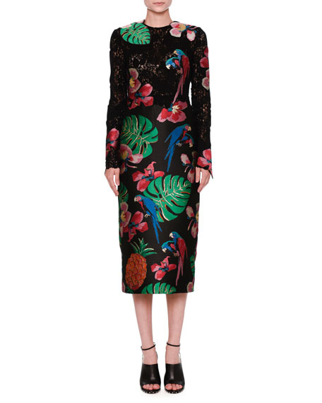 Valentino Silks LACE & BROCADE LONG-SLEEVE DRESS, BLACK/MULTI