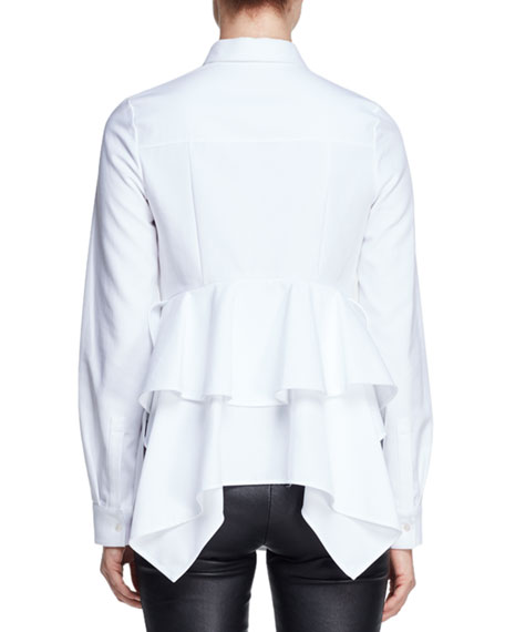 Peplum-Back Long-Sleeve Blouse, White