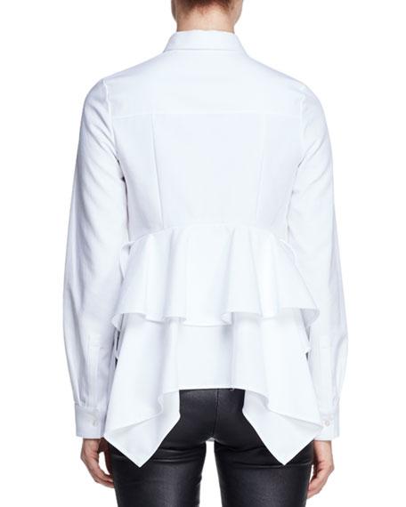 Peplum-Back Long-Sleeve Blouse, White