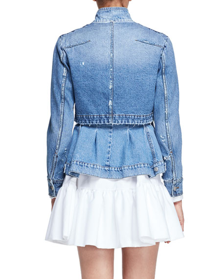 Denim Trompe l'Oeil Peplum Jacket