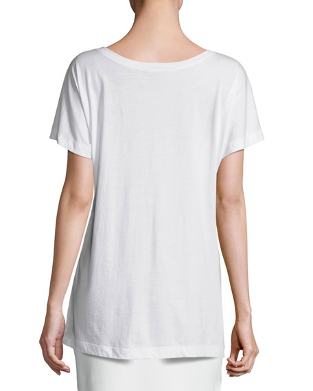Embroidered Cap-Sleeve Tee, Chalk