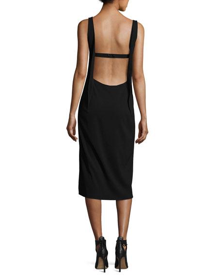 Open-Back Sleeveless Slip Dress, Black