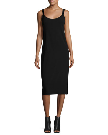 Maiyet Open-Back Sleeveless Slip Dress, Black