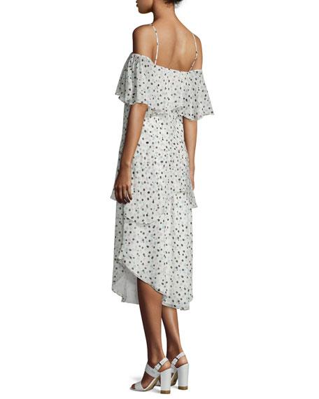 Tiered Dot-Print Sleeveless Dress