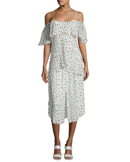 Maiyet Tiered Dot-Print Sleeveless Dress